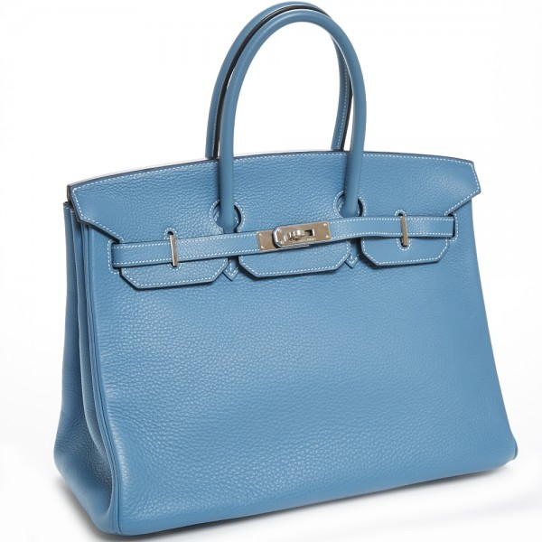 fb50397ed132 Hermes 35cm Blue Jean Clemence Birkin Bag