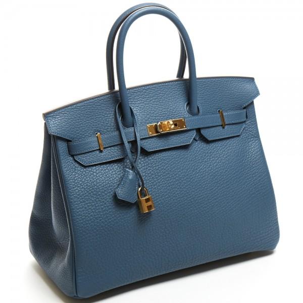 57021b62bf4f Hermes 35cm Blue Tempete Fjord Birkin Bag with Gold Har.