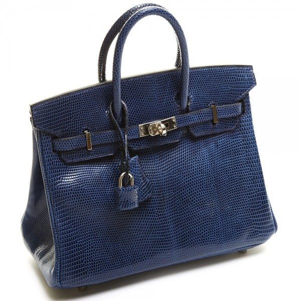 Hermes 25cm Blue De Malte Lizard Birkin Bag