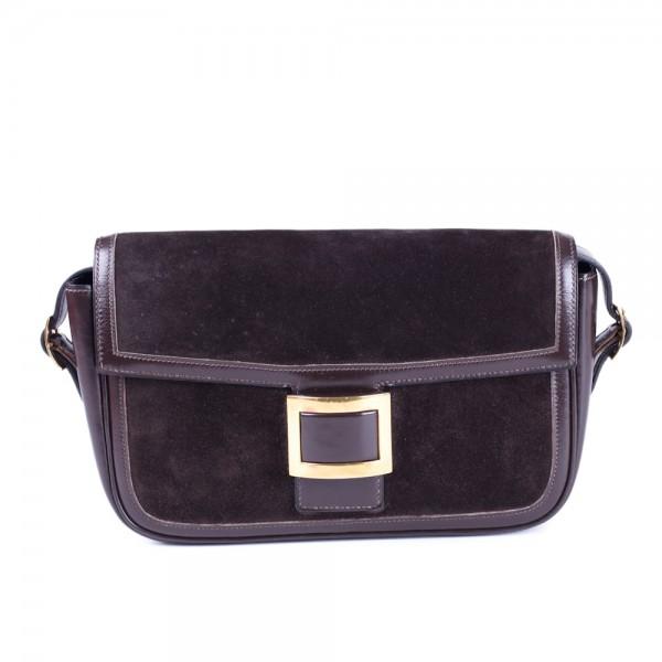 Vintage Hermes Brown Suede and Gold Shoulder Bag 69a4782181306