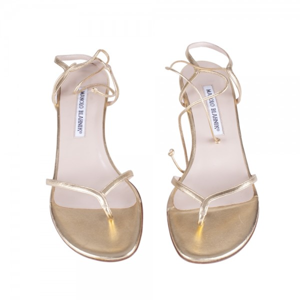 247250dfcbb Manolo Blahnik Gold Leather Ankle Strap Kitten Heels