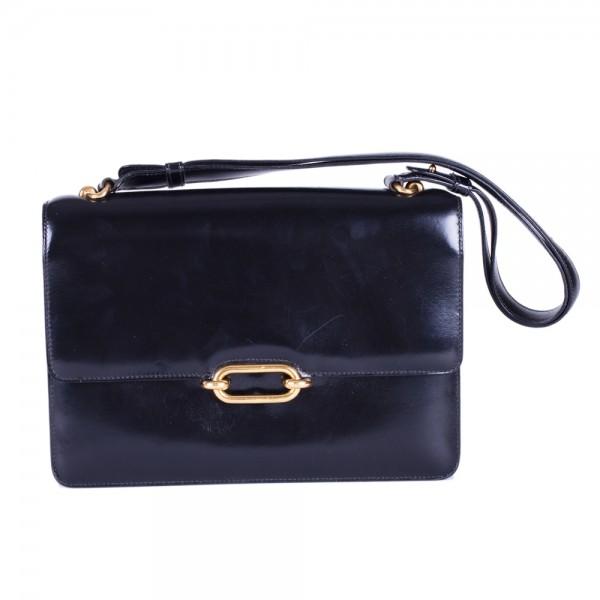 Hermes Vintage Black Box Calf Oval Day Bag 441fb6c6fa9ce