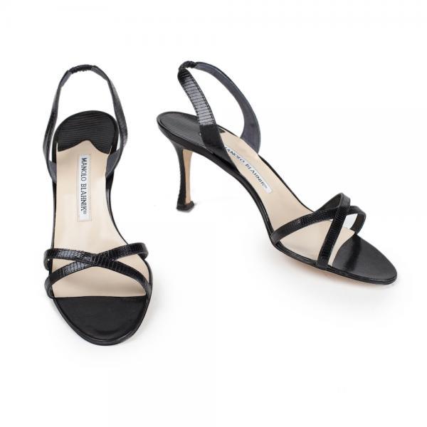 4d50d34d846 Manolo Blahnik Black Lizard Strap Heels