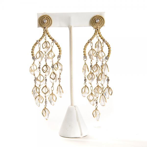 Home Kara Ross Jewelry Moonstone 18k Gold Chandelier Earrings