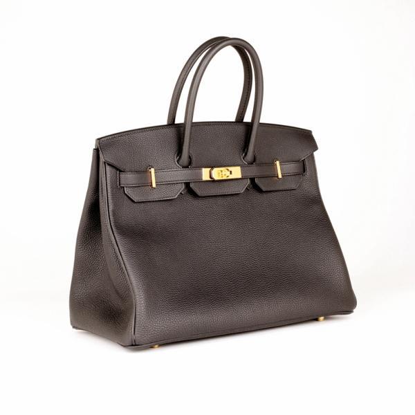 19b01504d8 Brand New Hermes Black 35cm Togo Birkin Bag with Gold Ha.