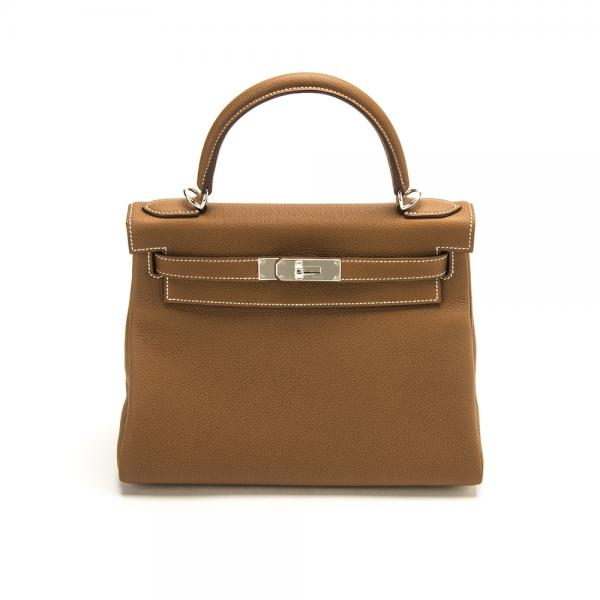 Hermes 28cm Gold Togo Kelly Bag With Palladium Hardware 9350c9eb3c821