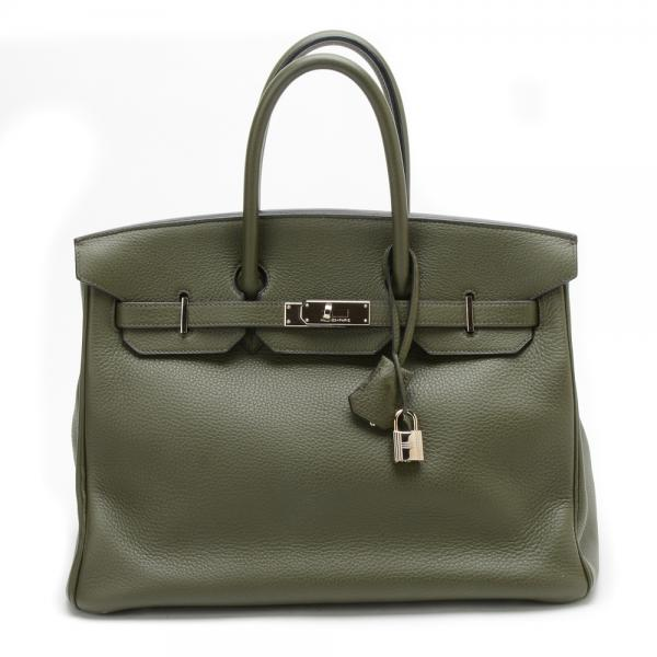 a45418d2ba Hermes Vert Olive Clemence Birkin Bag with Palladium Har.