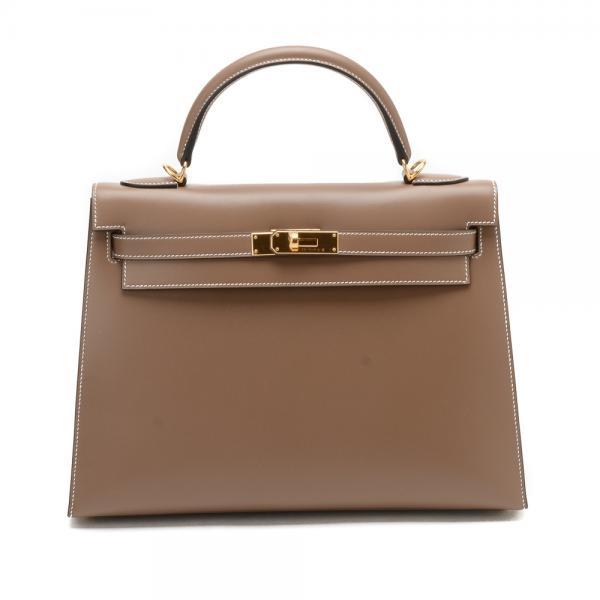 43d62277290 Hermes 32 Etoupe Sellier Kelly Bag in Tadelakt Leather w.