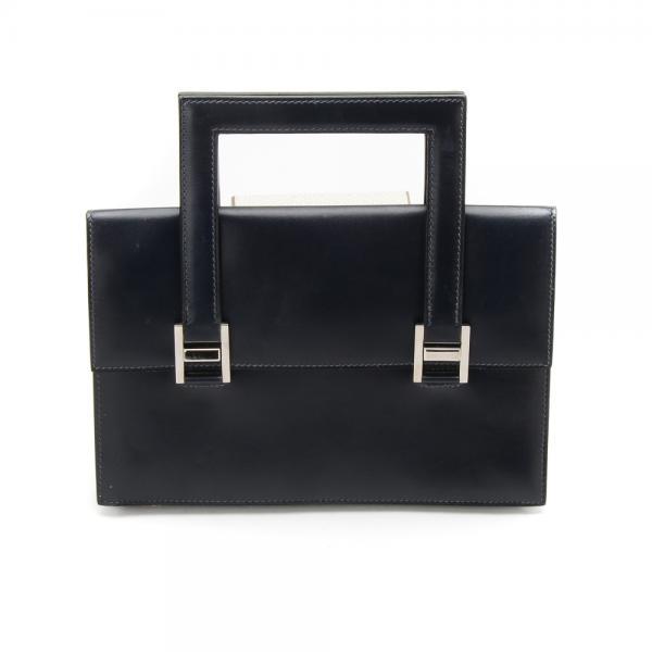 Hermes Vintage Clutch Handbag In Navy Box Calf with Pall. 91502cb541eb2