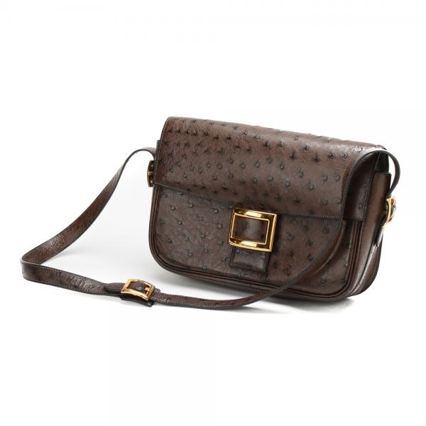 Hermes Chocolate Brown Ostrich Shoulder Bag with. 32abefd0cf8f0