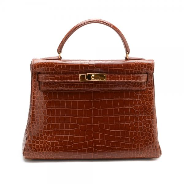 0fcbebb4511c Hermes Matte Crocodile Miele Colored 32cm Kelly Bag with.