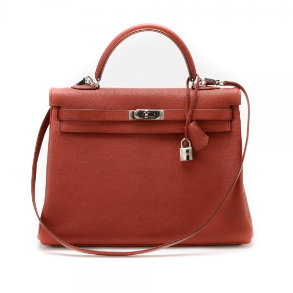 5c86abe8d3 Hermes Coq Du Roche Red 35cm Kelly Bag in Mangalore Chev.