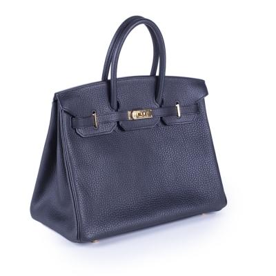 01dce20288f4 Hermes Black Fjord 35cm Birkin Bag Gold Hardware